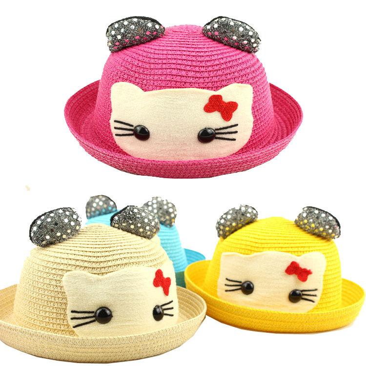2015 Summer New Children HELLO KITTY Hat Lovely Cartoon Infants Ear Straw Hat / Sandy beach Hat Boy/Girl Outdoor leisure Sun Hat(China (Mainland))