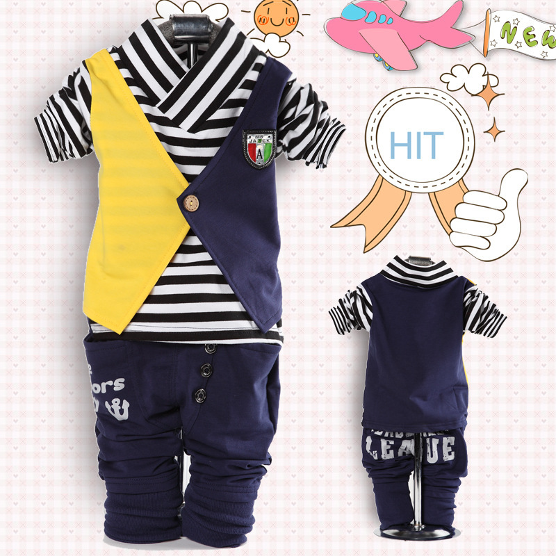 2016 Baby clothing set baby boys England style 2pcs striped fake vest Mixed colors full sleeve shirts + pants suit baby clothes(China (Mainland))