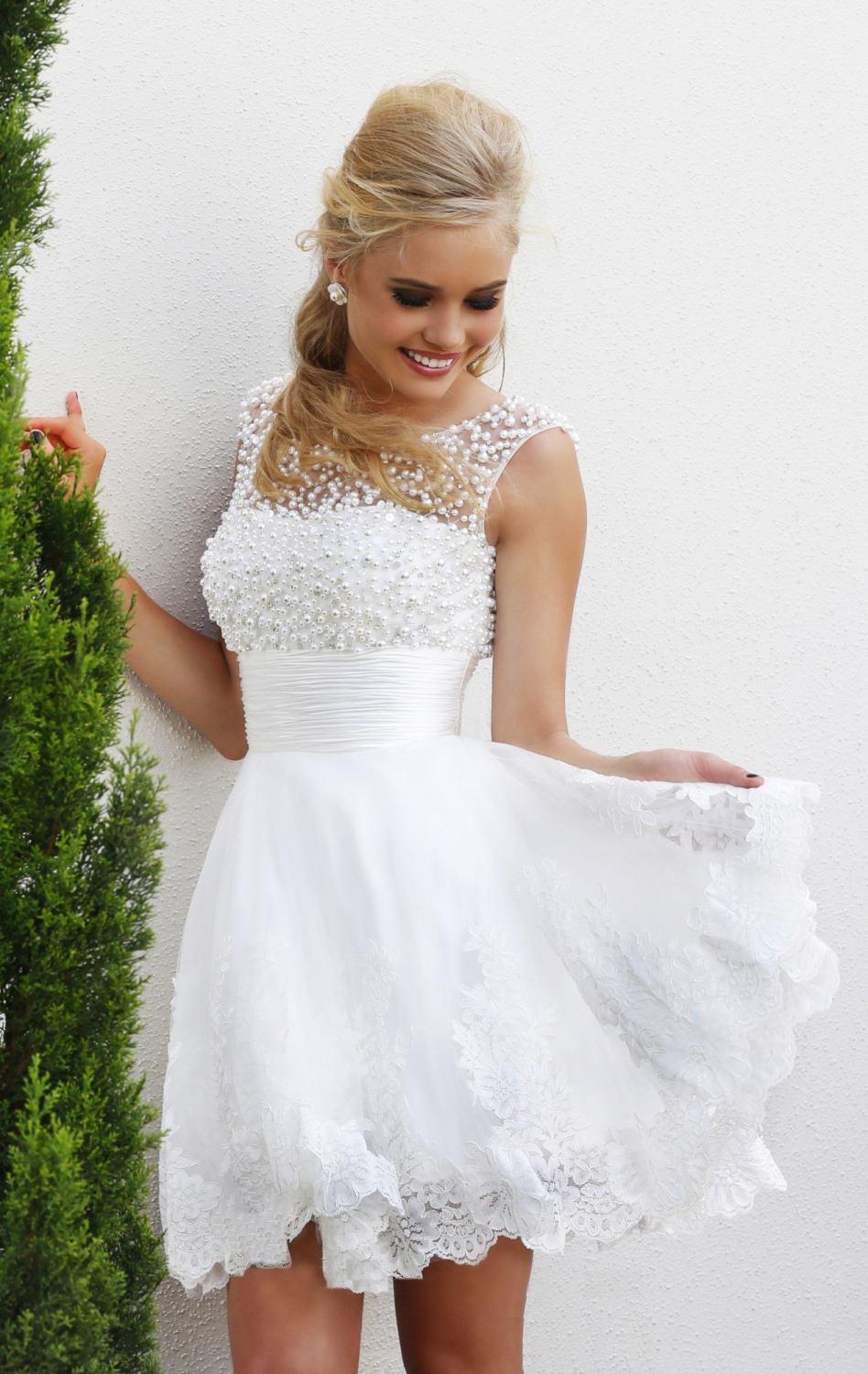 2015 white short wedding dresses the brides sexy lace for Wedding dress for a short bride