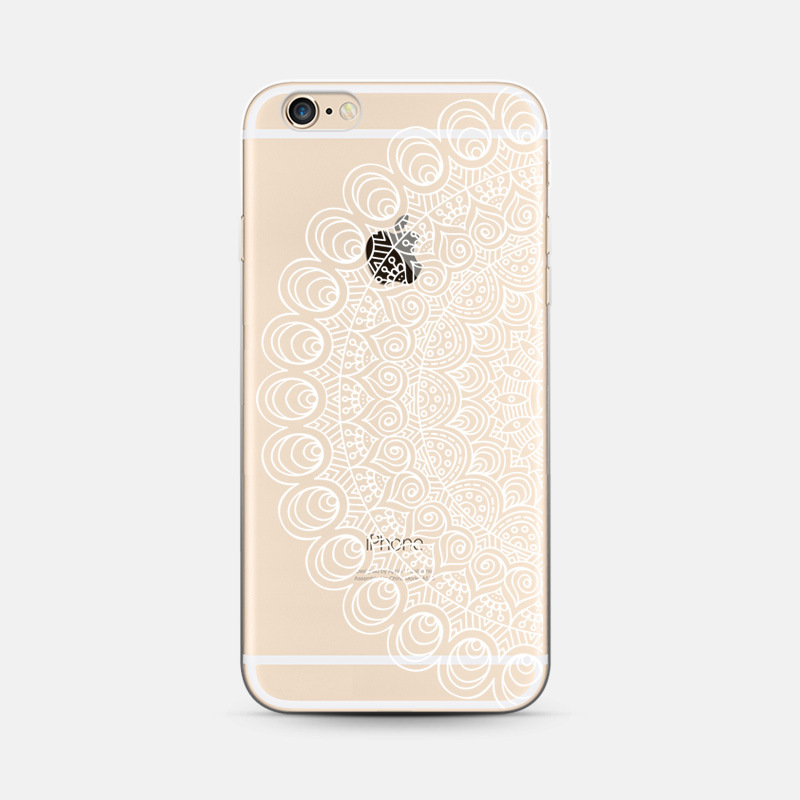 Transparent White Mandala Phone Case Coque For Apple Iphone 6 6s Soft Silicone Back Cover