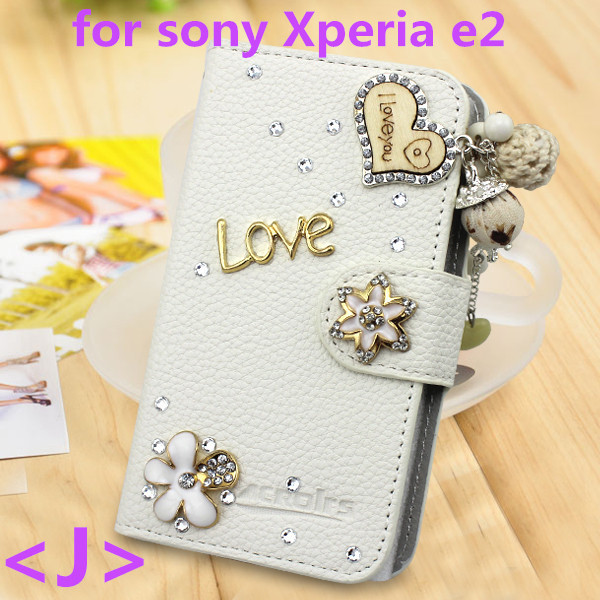Free data cable Handmade 3D Bling Diamond Crystal Rhinestone flip pu leather wallet folio case for sony Xperia e2(China (Mainland))