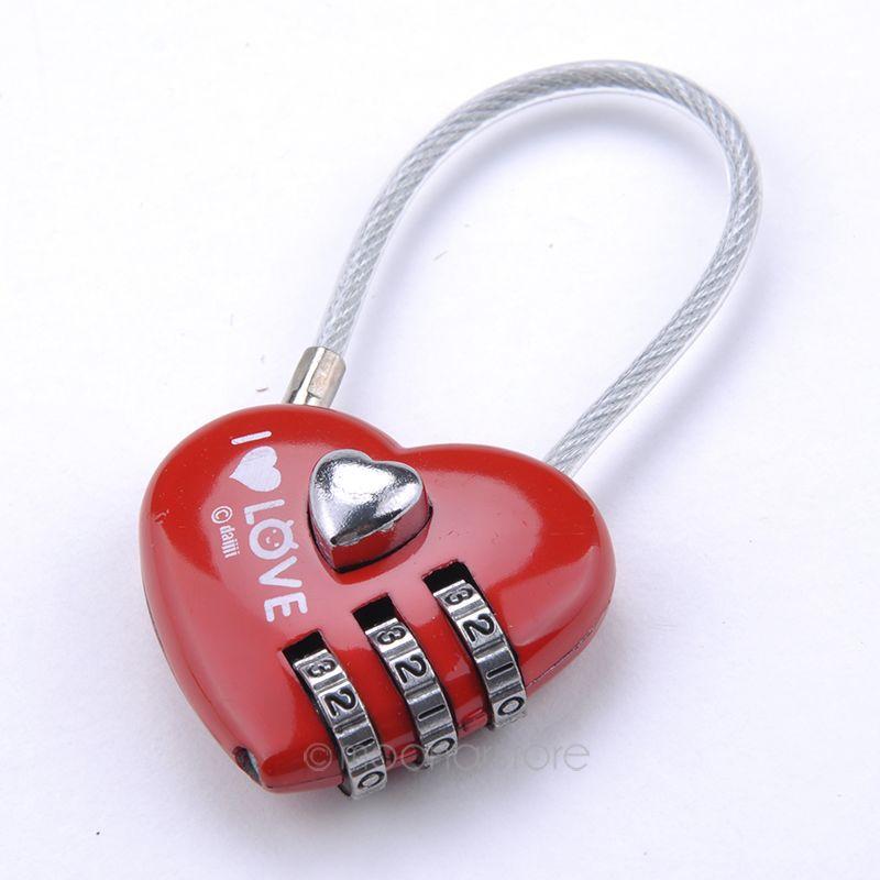 Mini Resettable Combination Padlock Heart Lock 3 Digits travel lock free shippingM*MHM492#M1(China (Mainland))