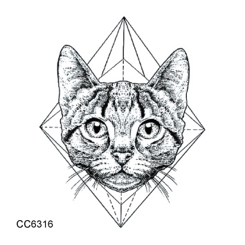 CC6316 6X6cm Little Vintage Old School Style Kidded Cat Head Temporary Tattoo Sticker Body Art Water Transfer Fake Taty(China (Mainland))