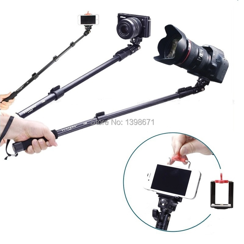 gopro selfie stick camera tripod with clip holder yunteng c188 extendable selfie monopod for. Black Bedroom Furniture Sets. Home Design Ideas