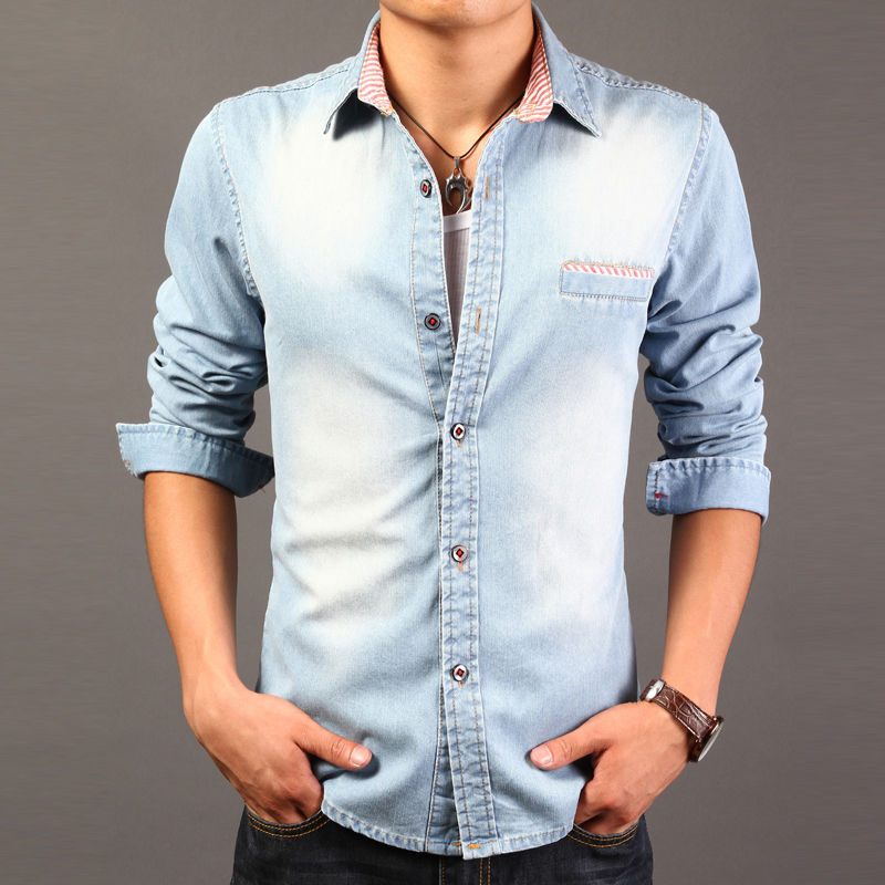 2015 high quality long sleeve denim shirts men casual