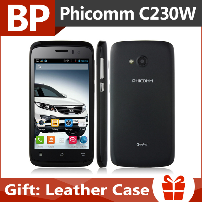 In Stock Original Phicomm C230W 4 Inch 800x480 MSM8212 Dual Core Android 4.3 3G Mobile Cell Phone Dual Cam 512MB 4GB GPS BT(China (Mainland))