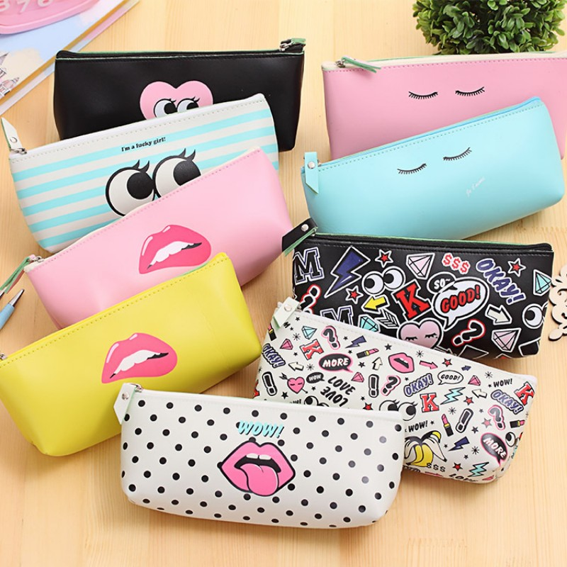 Cute Modern girl PU leather school pencil case for girl Kawaii Candy color Lip Dot pen bag stationery pouch school office supply(China (Mainland))