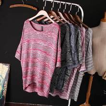 2015 New Spring Summer Loose Plus Size Bat Sleeve T-shirt Women's O-Neck T Shirt Striped Casual Knitwear Tops For Women Blusas(China (Mainland))