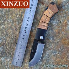 Xinzuo socorrista diseño único trabajo pesado cuchillo plegable portátil de Rare Burl Wood Camping combate exterior negro hoja Coated