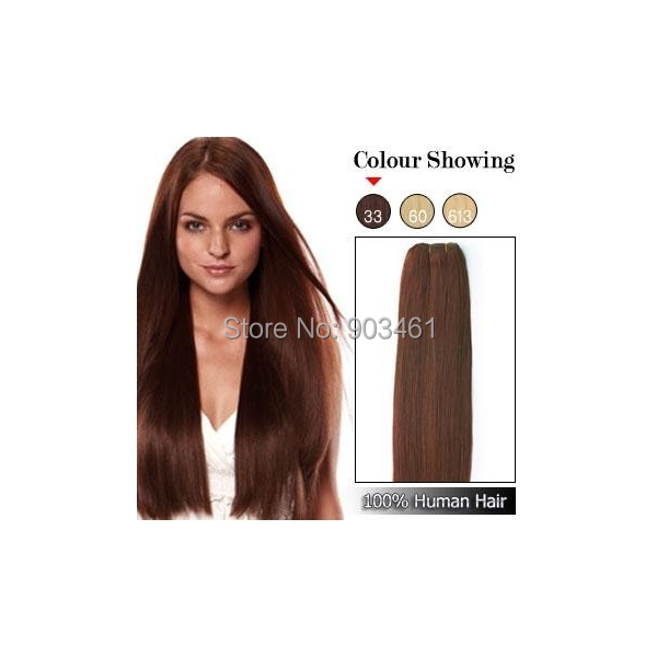 #33 Dark Auburn High Quality Remy Real Hairpiece 100g/pc 18-30 Inch No Tangling Shedding Straight Remy Hair Machine Weft(China (Mainland))