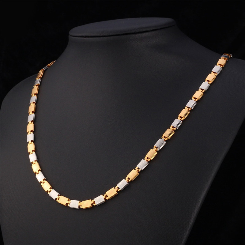 "Men Jewelry Vintage Necklace ""18K"" Stamp Body Chain 18K Real Gold Plated Two Tone Jewelry Fashion Necklaces For Women 2015 N076(China (Mainland))"