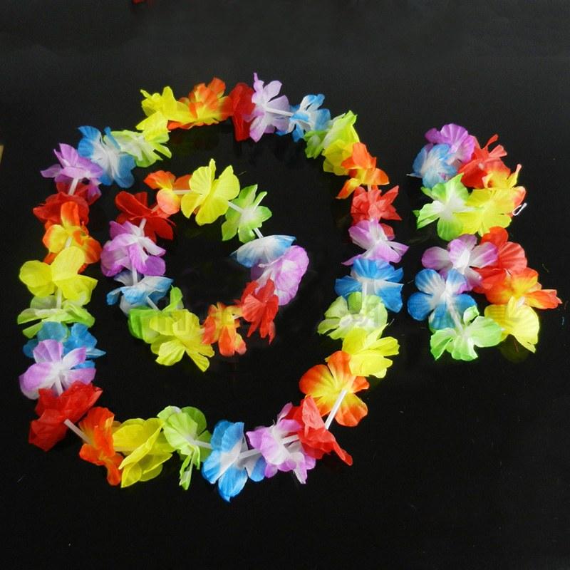 4pcs set Hawaiian Leis Set Flower Garland Necklace Headband Bracelet Wristband Hula Party Lady Men Dance