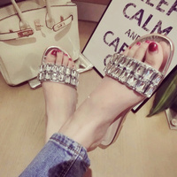 Free/drop shipping new luxury flat diamond princess ms word slippers cool shoes