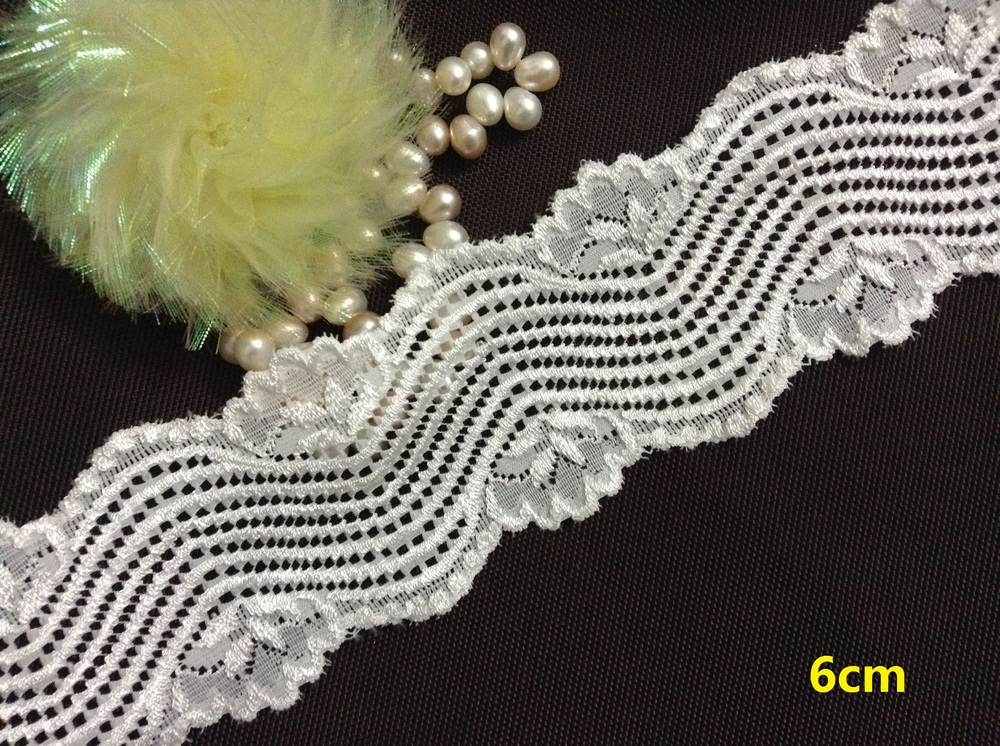 FREE SHIPPING 6cm exquisite elastic jacquard cream lace, soft and elegant lace trimming,fashion wave pattern,XERY13733(China (Mainland))