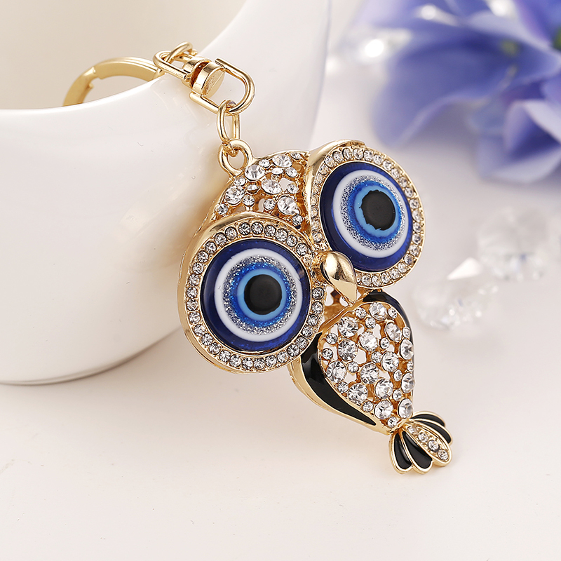 Creative novelty Rhinestone Animals owl keychain charm Crystal key chain ring holder women bag charms Accessories lovers gift(China (Mainland))
