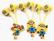 Hot Sale Clear Voice Cartoon In-ear Wired 3.5mm Earphone Headphone Despicable Me Minions Model Headset For MP3 MP4 Cell Phone