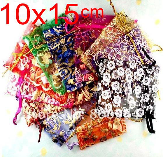 OMH 510x15cm 10color mix chinese Christmas Wedding voile gift bag Organza Bags Jewlery packing Gift Pouch BZ09 - Bead store