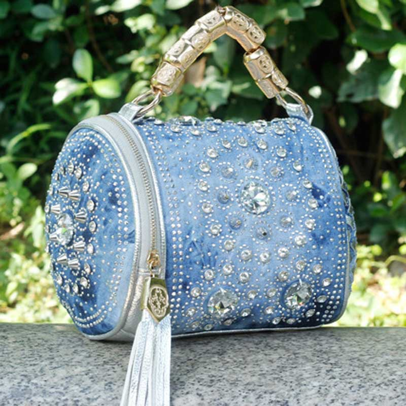summer bag Free Shipping 2014 new arrive woman fashion handbag Rhinestone Denim bag Woven handbags Bright surface wave packet(China (Mainland))
