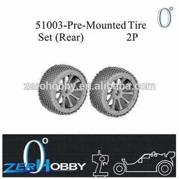 RC CAR SPARE PARTS PRE-MOUNTED TIRE SET (REAR) FOR HSP 1/5 BRUSHLESS OFF ROAD BUGGY 94059 (part no. 51003)
