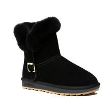 Nueva Marca de Invierno de Cuero Nobuck Zapatos de Las Mujeres de Moda de Piel Caliente Botas de Nieve Botas Mujeres Pisos Femeninos Otoño Invierno Adultos(China (Mainland))