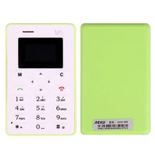 Original Ultra Thin AEKU M5 Mini Card Phone Student Pocket Russian Portuguese Indonesian Swedish Arabic Language Cell Phones