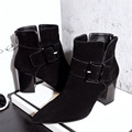 2016 New High Heels Booties With Buckles Women s Shoes Fashion Chunky Heel Black Punk Ankle