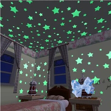 100 X Home Ceiling Glow In The Dark Stars Wall Stickers Decal Baby Kids Bedroom Stickers(China (Mainland))
