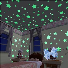 100 X accueil plafond Glow In The Dark Stars Stickers muraux Decal bébé enfants chambre autocollants(China (Mainland))