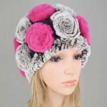 Venta caliente de las mujeres de invierno Knitted100 % Natural de piel de conejo Rex flores sombreros de mujer caliente Real gorras de piel de punto Floral de piel de sombrero(China)