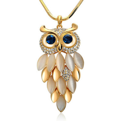 High Quality New Brand Design Gold Necklace Crystal Jewelry Owl Necklace & Pendants Long Chain Vintage Necklaces For Women 2015(China (Mainland))