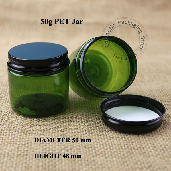 10pcs/lot Hot 50g PET Cream Jar Plastic Refillable Bottle Aluminum Cap Refillable Cosmetic Container Display Packaging(China (Mainland))