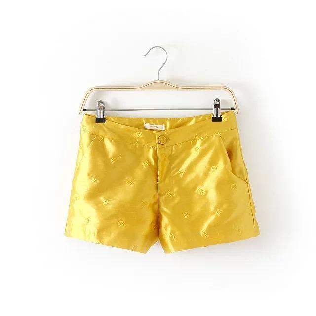 Free Shipping summer fashion slim embroidered waist wide yellow satin silk shorts elegant leg cross hotpants ladies(China (Mainland))