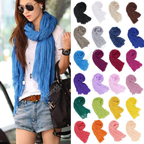 170*80CM 20 Color Shawls Solid Color Silk Brand Candy Long Scarves Womens Summer Female Cotton Hijab Plain Viscose Lady Scarf(China (Mainland))