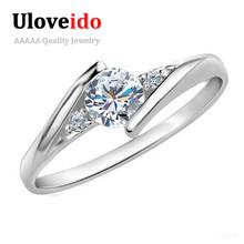 40% серебряная свадьба ювелирные изделия кольца для женщин кристалл обручальное цирконий кольцо из розового золота цвета anillos uloveido j045(China (Mainland))