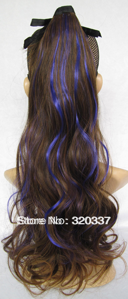 Girls Highlight Clip in Ribbon Ponytail Hair Extensions Curly Pony Tail Synthetic Hair Tail Ponytail Wig Hairpieces Brown/Blue<br><br>Aliexpress