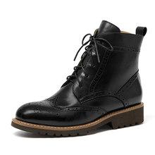 Beautoday Brogue Giày Bốt Nữ Da Thật Chính Hãng Da Da Bò Tẩy Lông Mũi Tròn Buộc Dây Cổ Chân Boot Mùa Thu Đông Giày Nữ Handmade 03263(China)