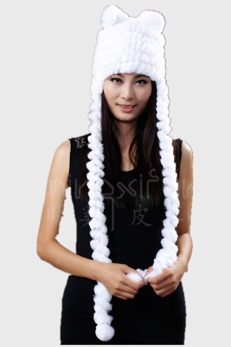 H651- autumn female Cat ear cap and scarf for women, white black red brown warm protector natural rex rabbit winter hat fur(China (Mainland))