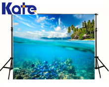 10X10Ft Photographic Background For Photo Studio Props Blue Sky Cloud Seabed Shoal Of Fish Water For Children Thick Cloth