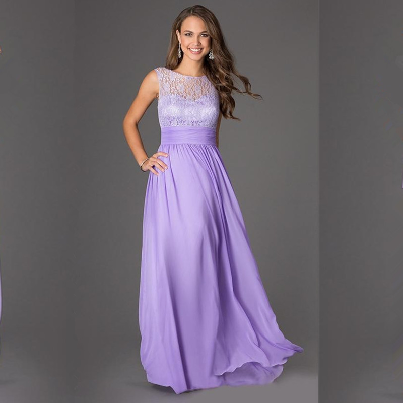 Hot Selling Romantic Lace Bridesmaid Dresses Gold/Orange/Purple/Pink/Coral Chiffon Long Wedding Party Dresses Free Shipping(China (Mainland))