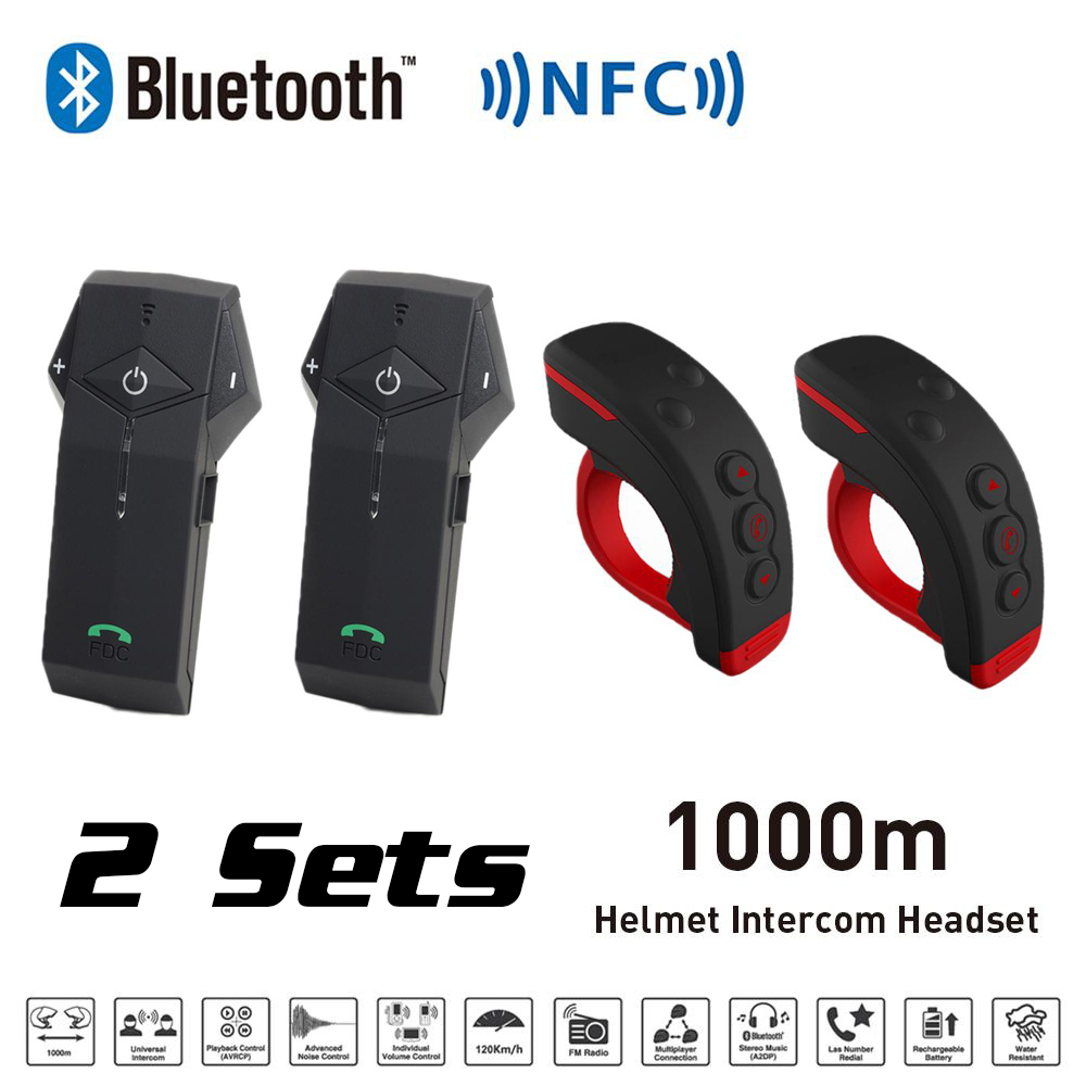 New 2 Sets 1000M BT Motorcycle Helmet Bluetooth Intercom Interphone Headset with NFC FM Functon + L3 Remote Control(China (Mainland))
