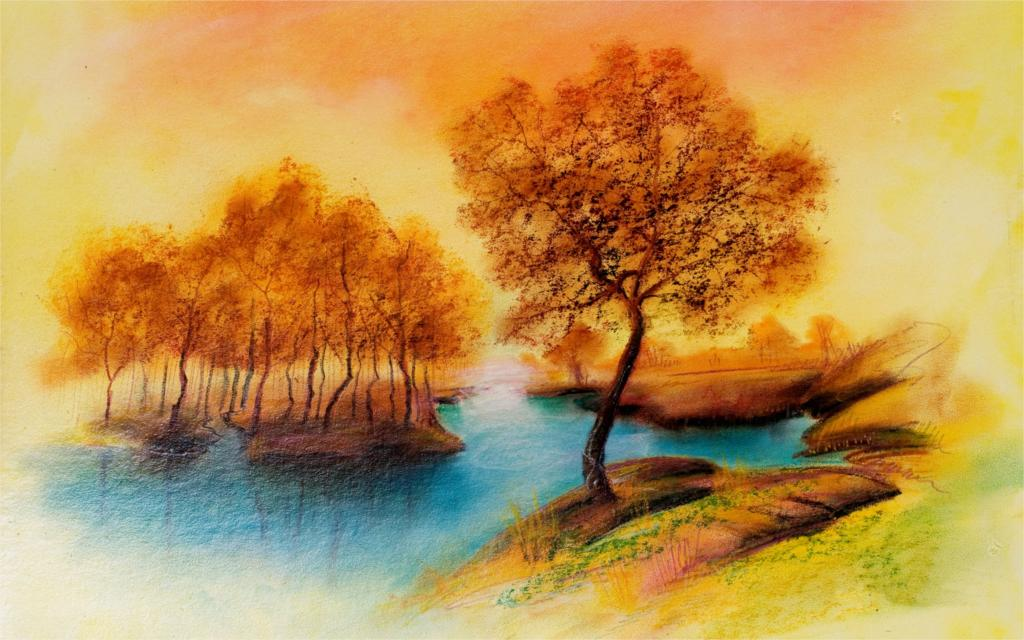 Autumn Landscape Drawing Drawing Landscape River Trees
