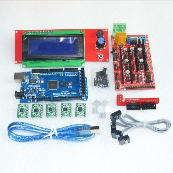 1pcs Mega 2560 R3 + 1pcs RAMPS 1.4 Controller + 5pcs A4988 Stepper Driver Module /RAMPS 1.4 2004 LCD control for 3D Printer kit(China (Mainland))