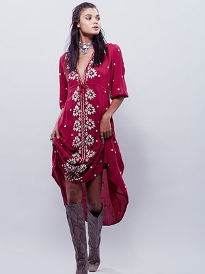 Bohemian dress Red Women Vintage Ethnic Flower Embroidered Cotton Linen Tunic Casual Maxi Long Dress Hippie Boho People FJ163(China (Mainland))