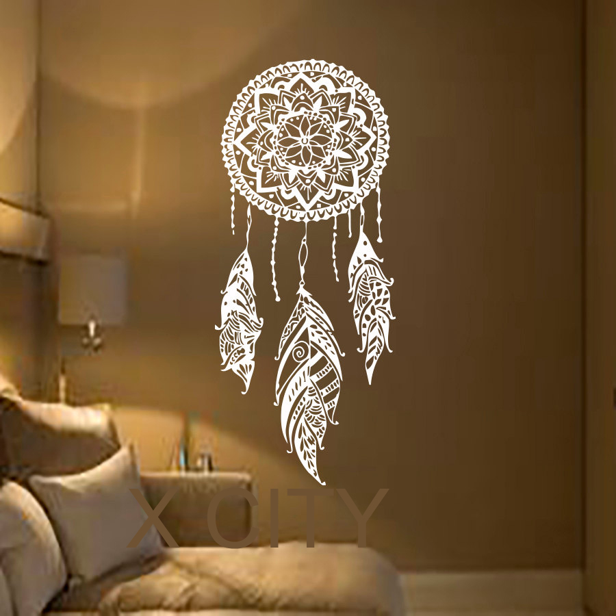 Dream Catcher Art Feather Vinyl Sticker Boho Dreamcatcher Wall Decals for Bedroom Nursery Bohemian American Indian Amulet(China (Mainland))