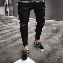 2018 hombres pantalones vaqueros rasgados con estilo Biker Skinny Delgado recto deshilachados Denim Pantalones nueva moda Pantalones vaqueros flaco hombres ropa(China)