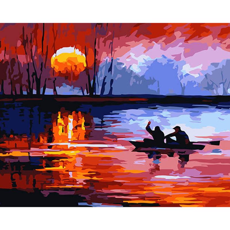 Mais novo Parede Pintura Do Por Do Sol, barco, amante Pictures Pintura By Numbers DIY Pintura A Óleo Digital Na Lona Decoração de Casa YAX87(China (Mainland))