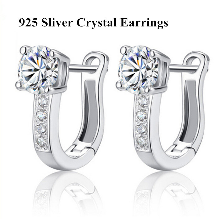 CM077 Best Gift 925 Sterling Silver Simulated Diamond Hoop Earrings Silver Earings for Women 2014 New Women Wedding Jewelry(China (Mainland))