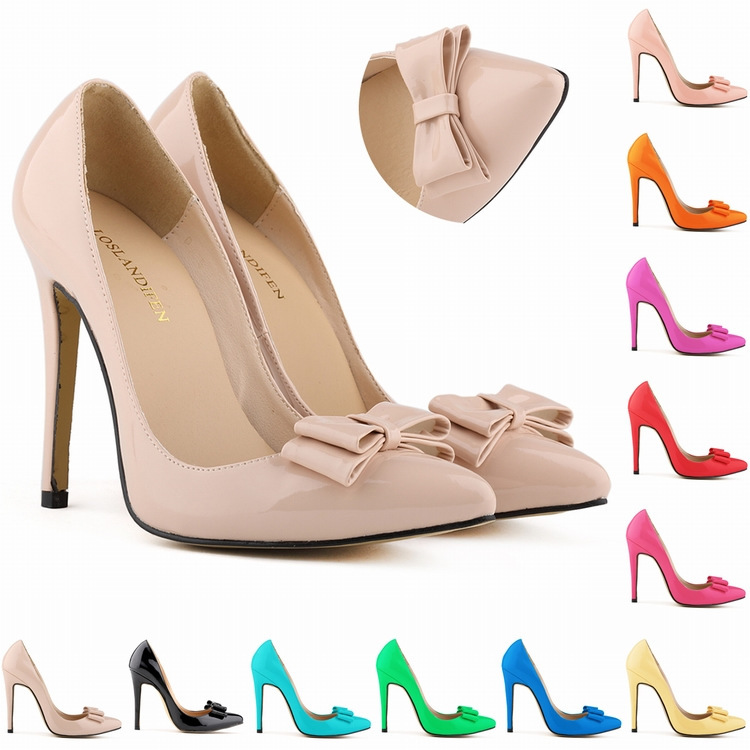 big size 11cm high heel pointed toe women winter bowtie women pumps high heels wedding shoes sapatos femininos(China (Mainland))