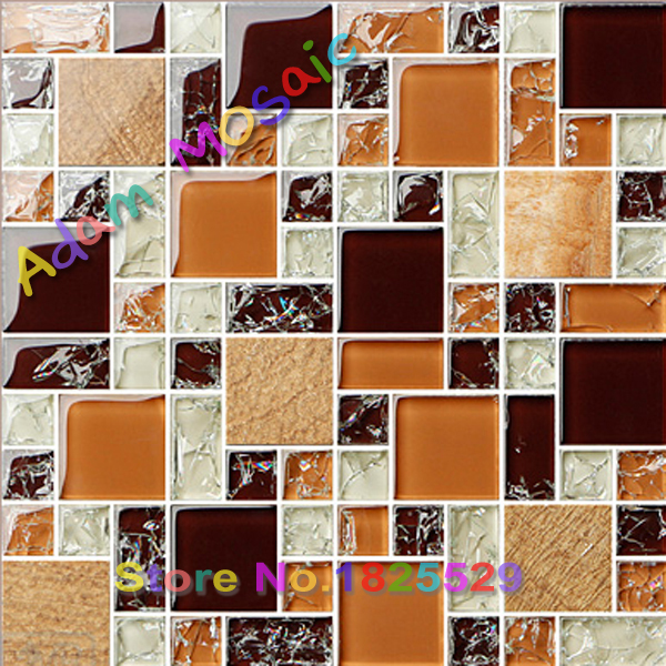 Dark brown and ice crackeld glass mosaic tiles for crafts