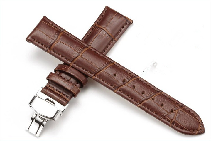 Genuine Leather Brown Black Color Watchbands Butterfly Buckle 20mm Watch Strap band - Shenzhen Weiyi Fashion Gift Co., Ltd. store